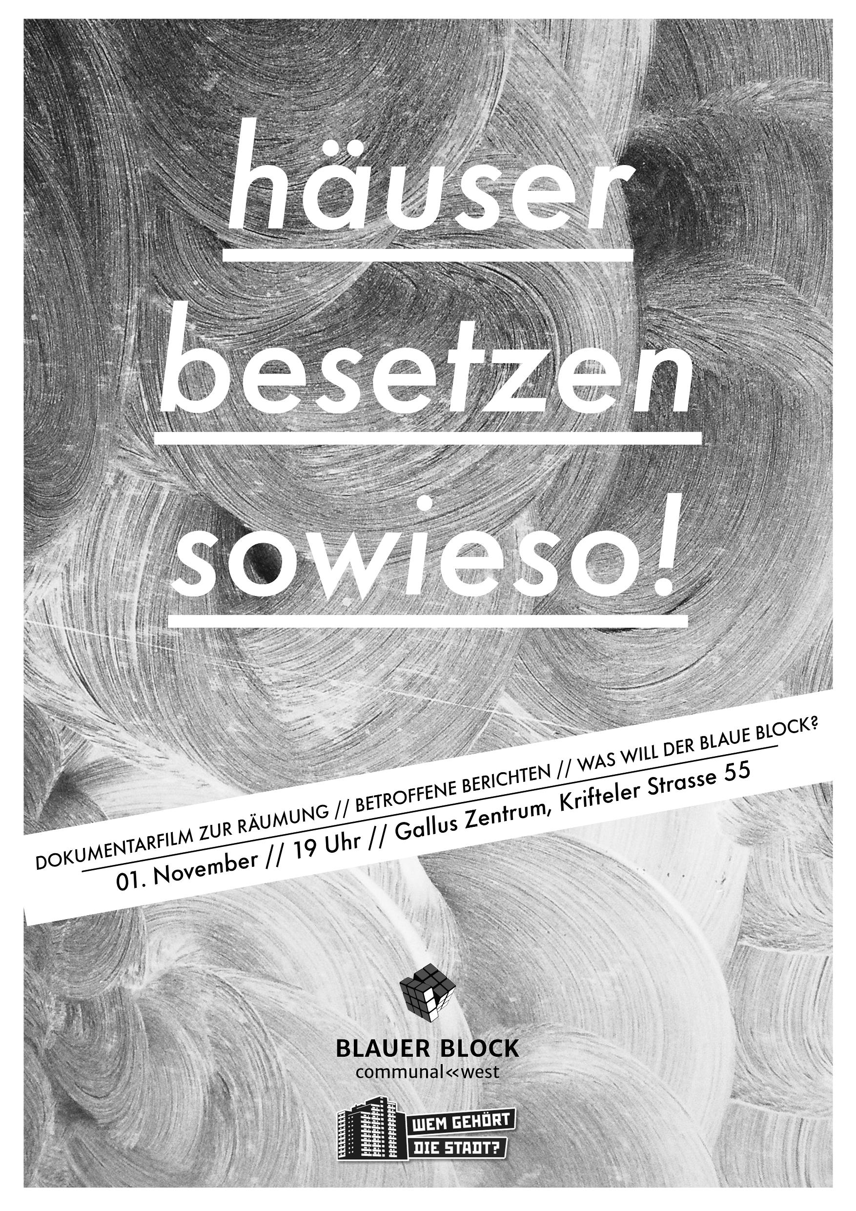 """Plakat \""""Häuser besetzen sowieso!\"""""""